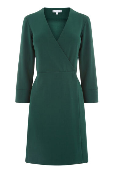 Warehouse, CREPE WRAP DRESS Dark Green 0