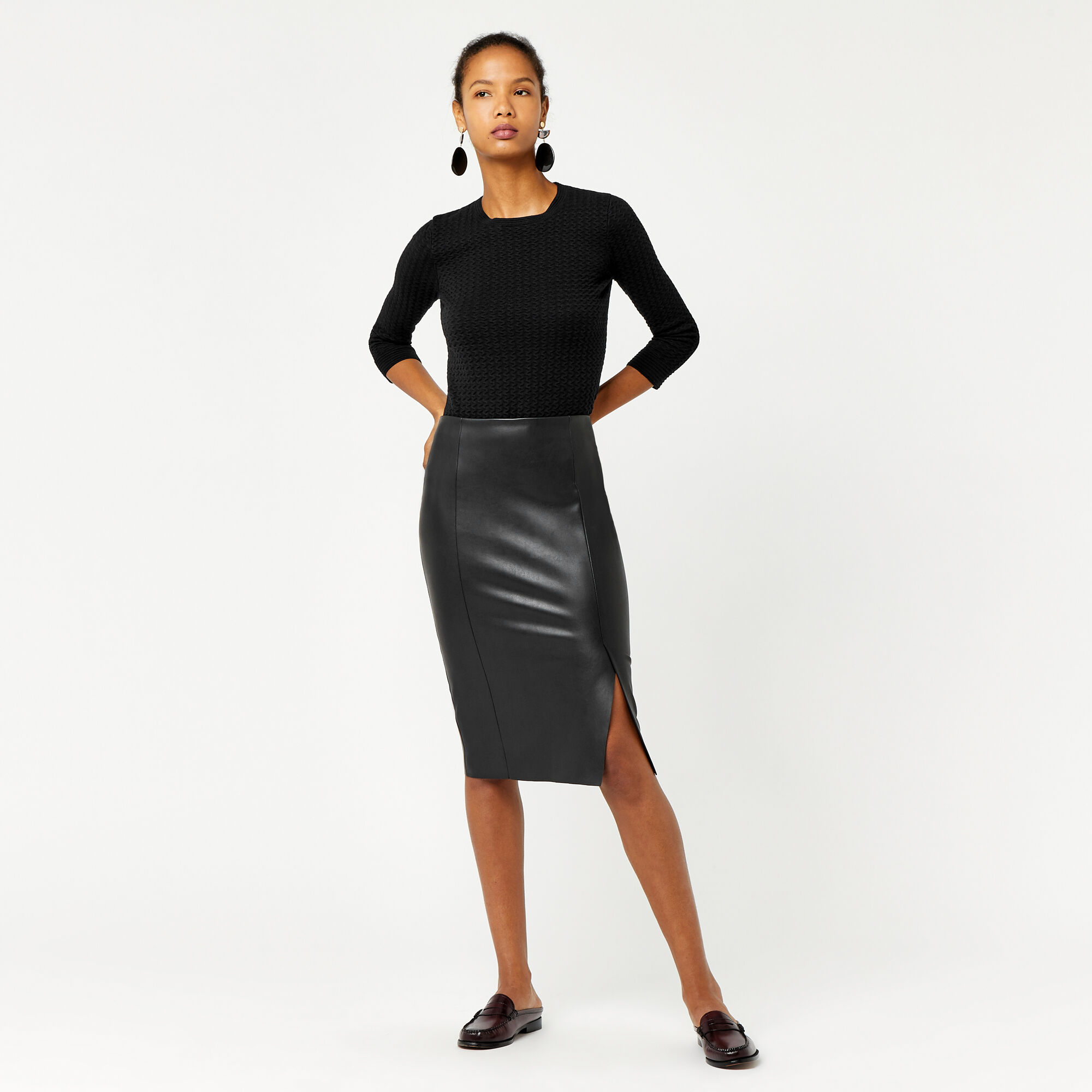 Warehouse, Faux Leather Pencil Skirt Black 1
