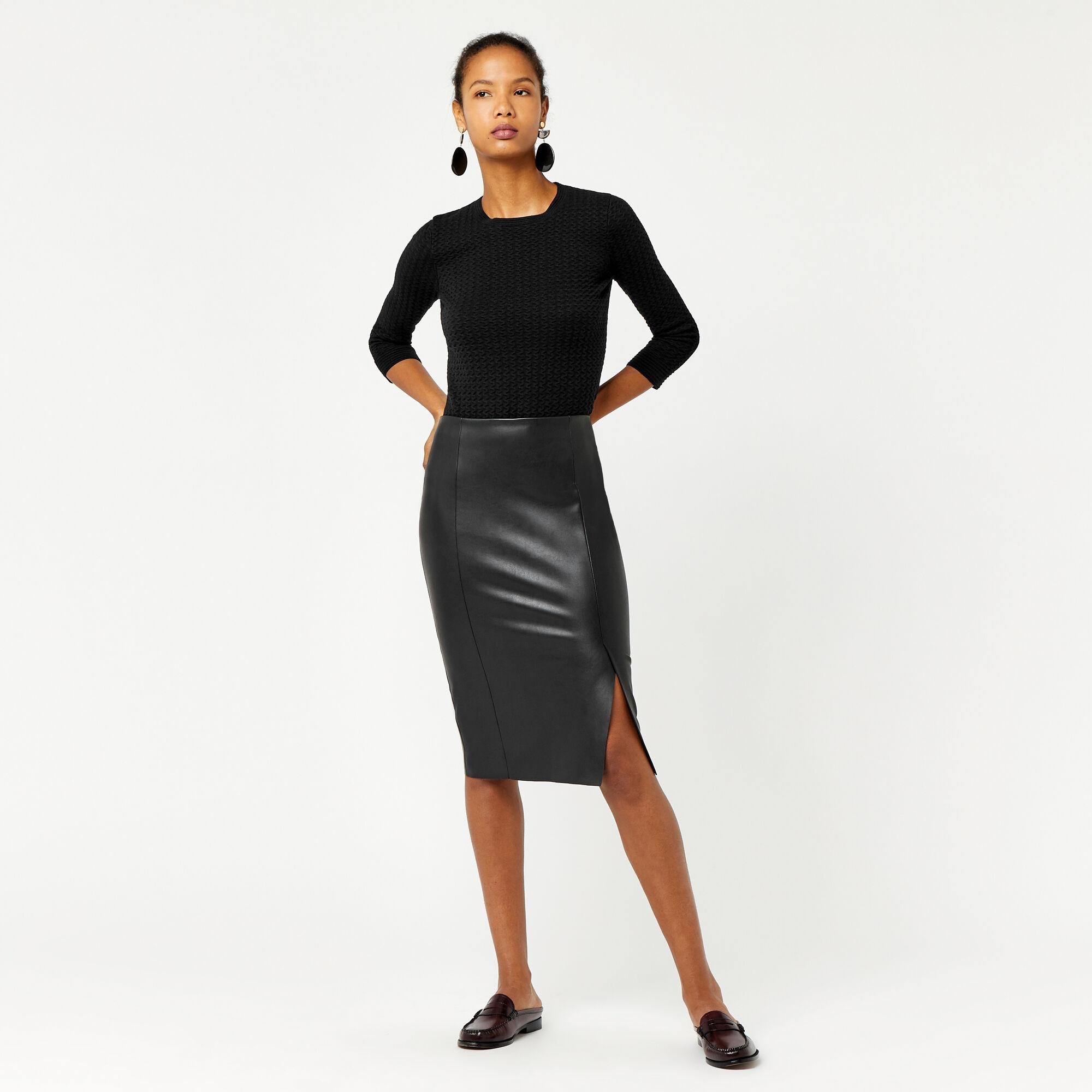 Warehouse, Faux Leather Pencil Skirt Black 1