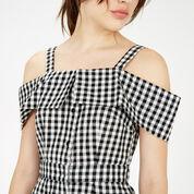 Warehouse, Gingham Off Shoulder Dress Black Pattern 4