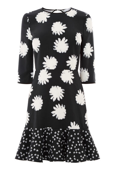 Warehouse, DAISY FLORAL PEPLUM DRESS Black Pattern 0