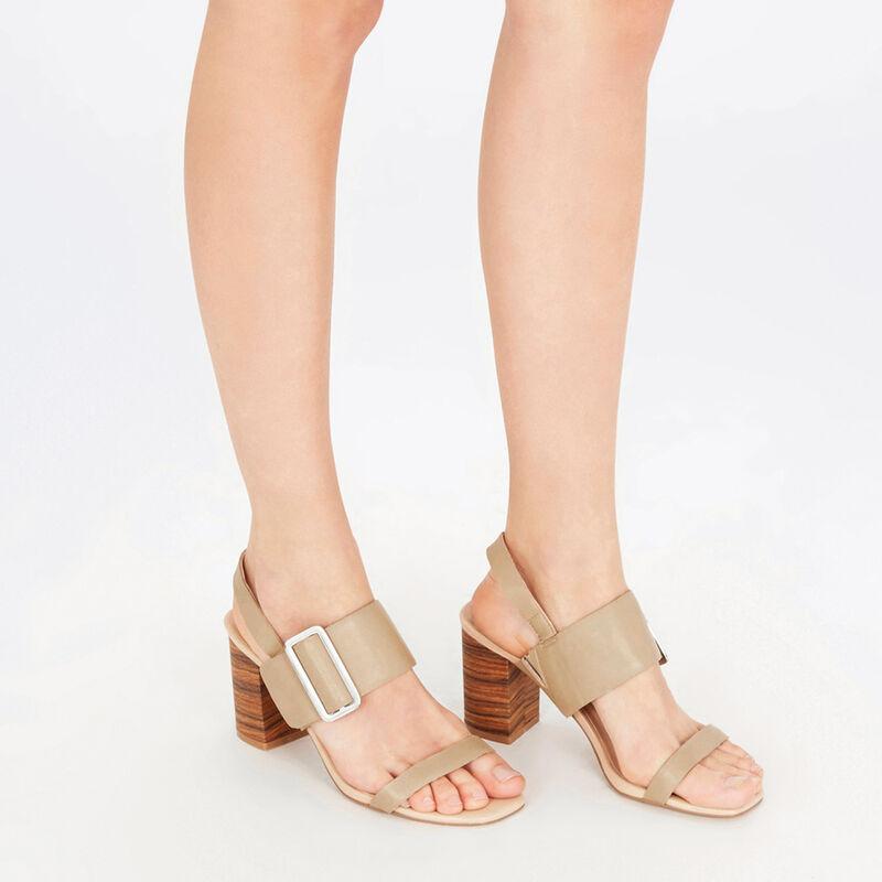 Warehouse, Triple Strap Stacked Sandal Beige 1
