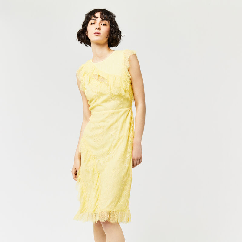 Warehouse, EYELASH FRILL DRESS Lemon 1