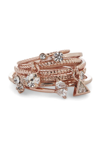 Warehouse, MIXED DIAMANTE RING 6 PACK Rose Gold 0