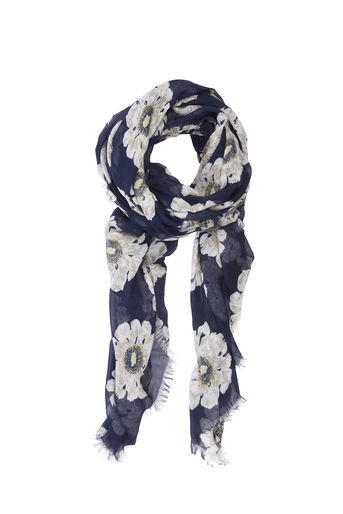 Warehouse, MELODY PRINT SCARF Navy 0