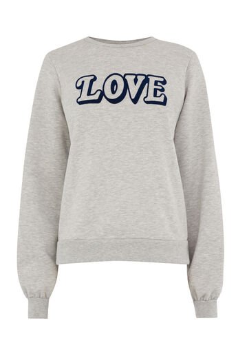 Warehouse, LOVE PUFF SLEEVE SWEAT Light Grey 0