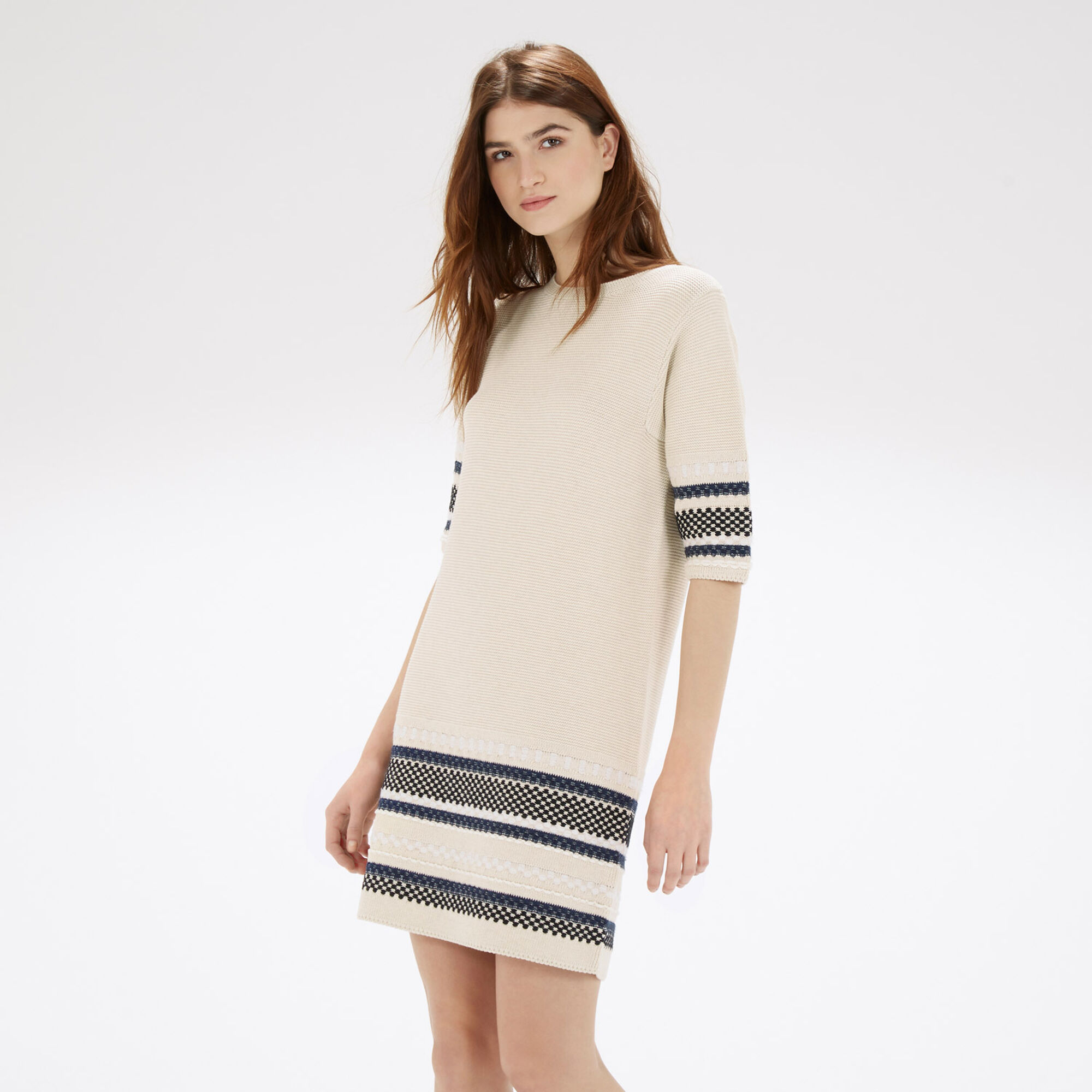 Warehouse, CRAFT STITCH DRESS Cream 1