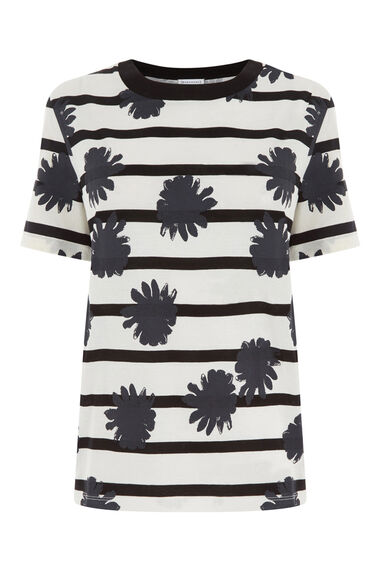 Warehouse, FLOWER PRINT T-SHIRT Black Stripe 0