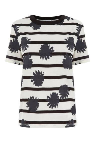 Warehouse, FLOWER PRINT T-SHIRT Black Stripe 0