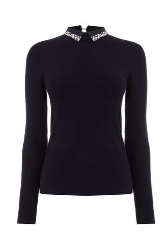 Warehouse, PEARL COLLAR JUMPER Navy 0