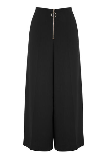 Warehouse, ZIP FRONT CULOTTES Black 0