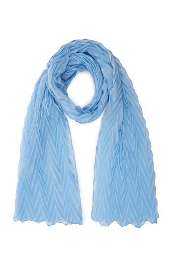 Warehouse, ZIG ZAG PLEATED SCARF Light Blue 0
