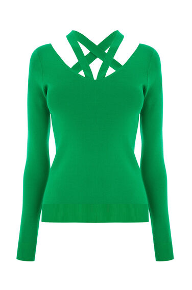 Warehouse, CUT OUT V NECK JUMPER Bright Green 0