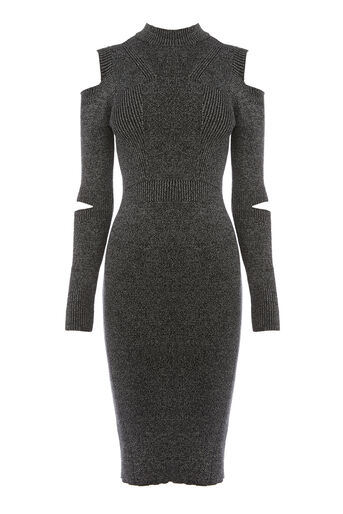 Warehouse, SLASH SLEEVE RIB KNIT DRESS Dark Grey 0