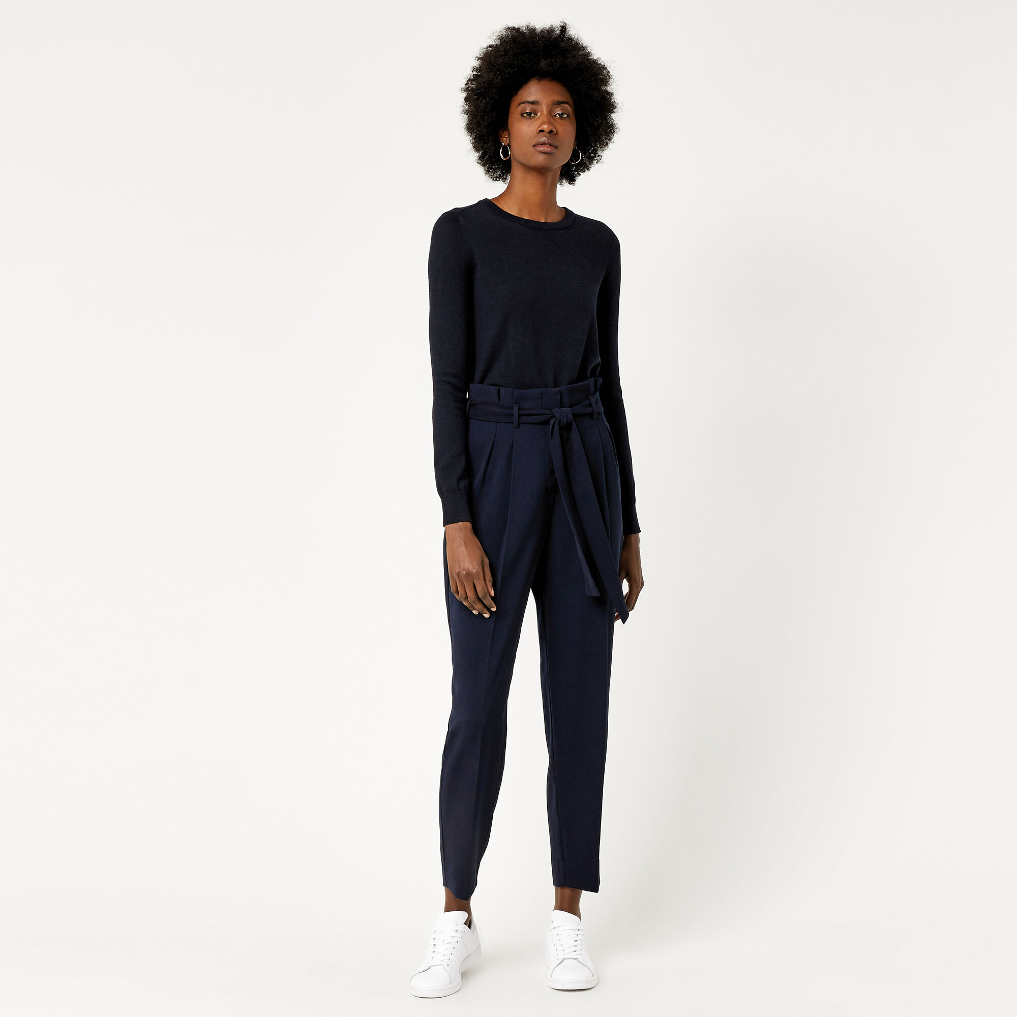 Warehouse, PAPER BAG PEG TROUSER Navy 1