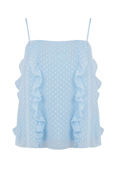 Warehouse, RUFFLE SPOT CAMI TOP Light Blue 0