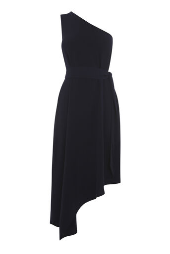 Warehouse, ONE SHOULDER DRESS Navy 0