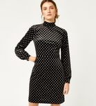 Warehouse, POLKA DOT VELVET DRESS Black Pattern 1