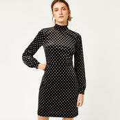 Warehouse, POLKA DOT VELVET DRESS Black Pattern 1