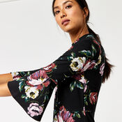 Warehouse, COUNTRY ROSE PONTE DRESS Black Pattern 4