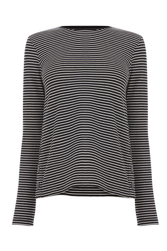 Warehouse, POPPER SIDE STRIPE TOP Black Stripe 0