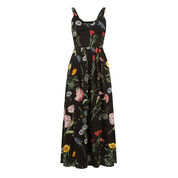 Warehouse, Scatter Floral Pleated Dress Black Pattern 0
