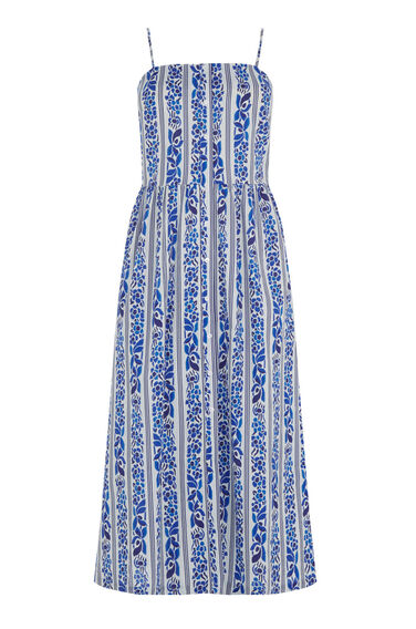 Warehouse, Printed Cami Midi Dress Blue Pattern 0