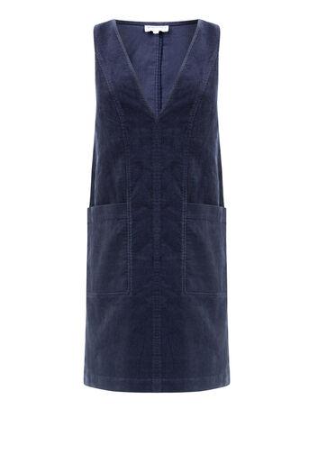 Warehouse, Deep V Neck Cord Dress Navy 0