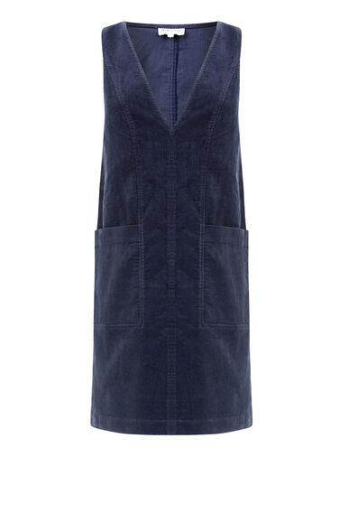 Warehouse, Deep V Neck Cord Dress Navy 0