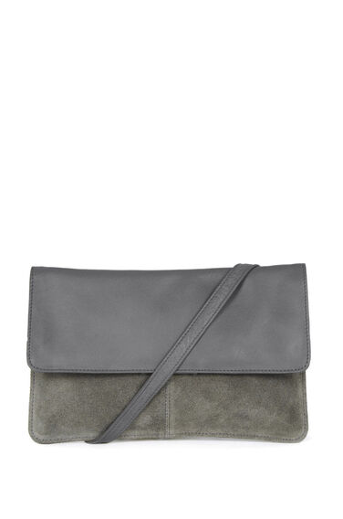 Warehouse, SUEDE & LEATHER CROSS BODY BAG Light Grey 0