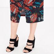 Warehouse, Botanical Drawn Floral Skirt Black Pattern 4