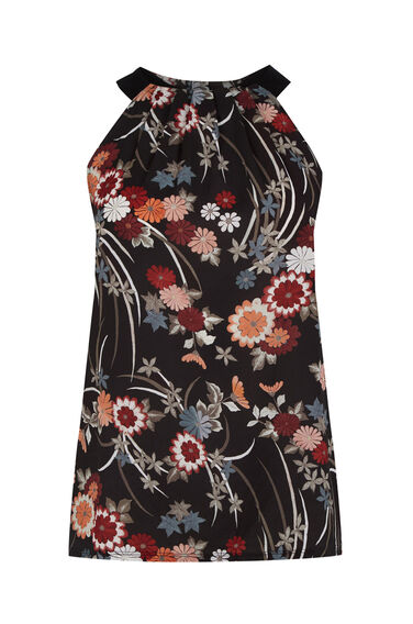 Warehouse, ORIENTAL FLORAL HIGH NECK TOP Black Pattern 0