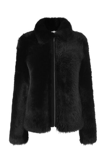 Warehouse, Furry Shearling Jacket Black 0
