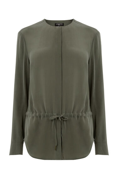 Warehouse, SILK DRAWSTRING BLOUSE Khaki 0