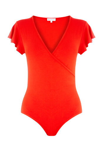 Warehouse, FRILL WRAP BODY Bright Red 0