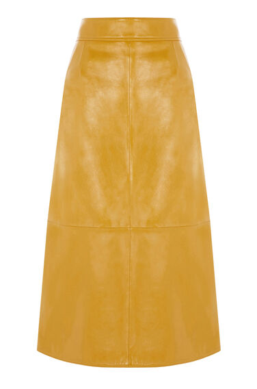 Warehouse, Patent Leather Skirt Mustard 0