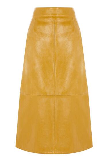 Warehouse, Patent Leather Skirt Mustard 0