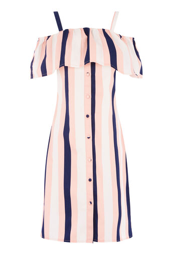 Warehouse, SINGLE STRIPE RUFFLE DRESS Multi 0
