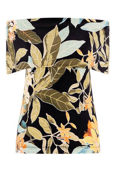 Warehouse, TROPICAL PRINT DEEP BARDOT TOP Multi 0