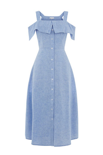 Warehouse, CHAMBRAY BUTTON THROUGH DRESS Light Blue 0