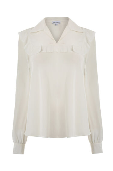 Warehouse, SILK RUFFLE YOKE BLOUSE Cream 0