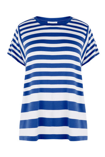Warehouse, STRIPE PANEL CUTABOUT TEE Blue Stripe 0