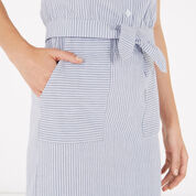 Warehouse, Stripe Cotton Pencil Skirt Blue Stripe 4