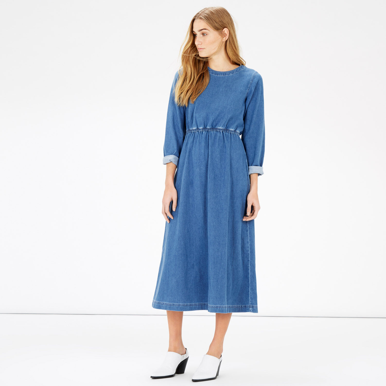 Warehouse, Long Sleeve Midi Dress Light Wash Denim 1