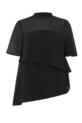 Warehouse, TIERED CHIFFON TOP Black 0