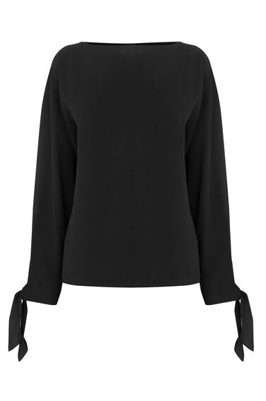 Warehouse, TIE SLEEVE TOP Black 0