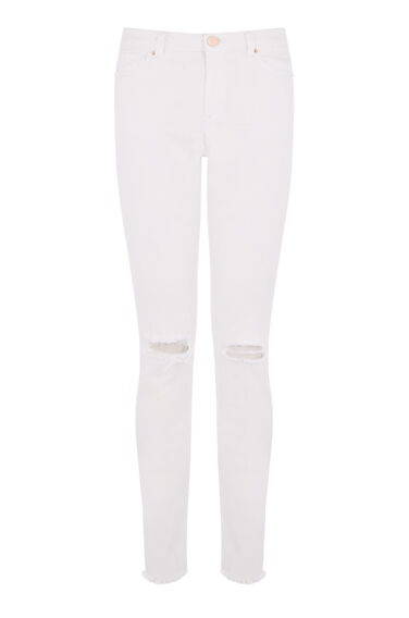 Warehouse, Distressed Skinny Cut Jean White 0