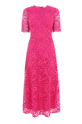 Warehouse, PREMIUM LACE SLEEVE DRESS Bright Pink 0