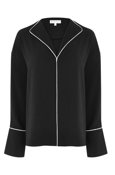 Warehouse, PIPED DETAIL BLOUSE Black 0