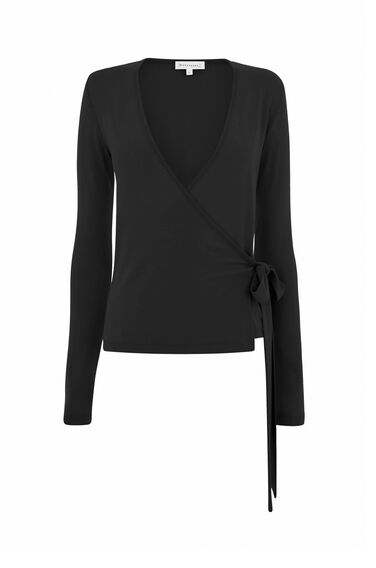 Warehouse, WRAP LONG SLEEVE TOP Black 0
